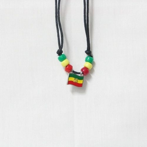 ETHIOPIA LION COUNTRY FLAG SMALL METAL NECKLACE CHOKER .. NEW AND IN A PACKAGE
