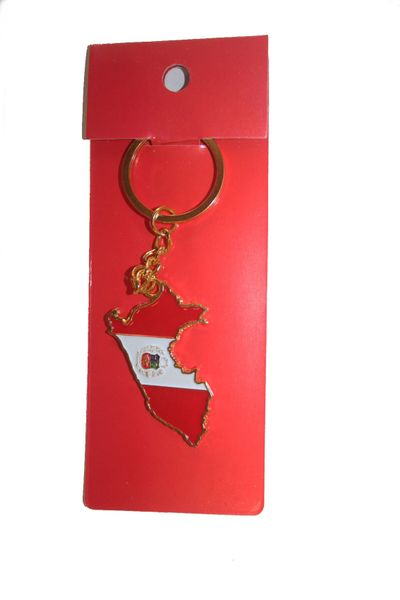 PERU COUNTRY SHAPE FLAG METAL KEYCHAIN .. NEW AND IN A PACKAGE