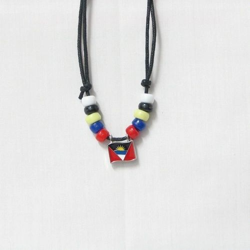 ANTIGUA COUNTRY FLAG SMALL METAL NECKLACE CHOKER .. NEW AND IN A PACKAGE