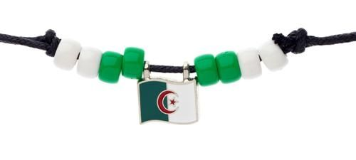 ALGERIA COUNTRY FLAG SMALL METAL NECKLACE CHOKER .. NEW AND IN A PACKAGE