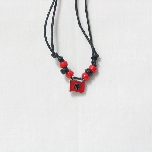 ALBANIA COUNTRY FLAG SMALL METAL NECKLACE CHOKER .. NEW AND IN A PACKAGE