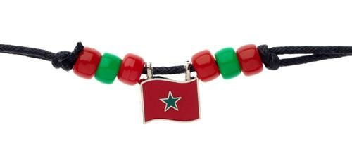 MOROCCO COUNTRY FLAG SMALL METAL NECKLACE CHOKER .. NEW AND IN A PACKAGE