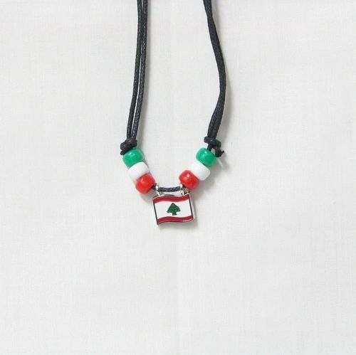LEBANON COUNTRY FLAG SMALL METAL NECKLACE CHOKER .. NEW AND IN A PACKAGE