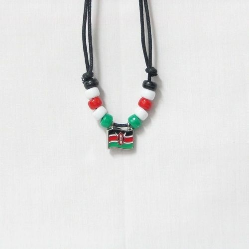 KENYA COUNTRY FLAG SMALL METAL NECKLACE CHOKER .. NEW AND IN A PACKAGE