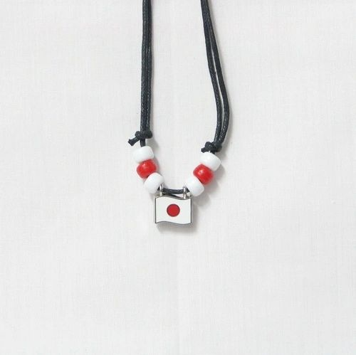JAPAN COUNTRY FLAG SMALL METAL NECKLACE CHOKER .. NEW AND IN A PACKAGE
