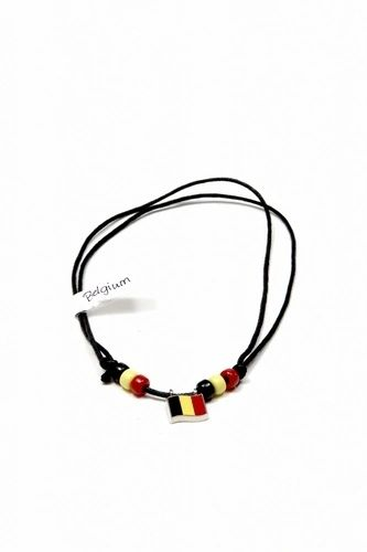 BELGIUM COUNTRY FLAG SMALL METAL NECKLACE CHOKER .. NEW AND IN A PACKAGE