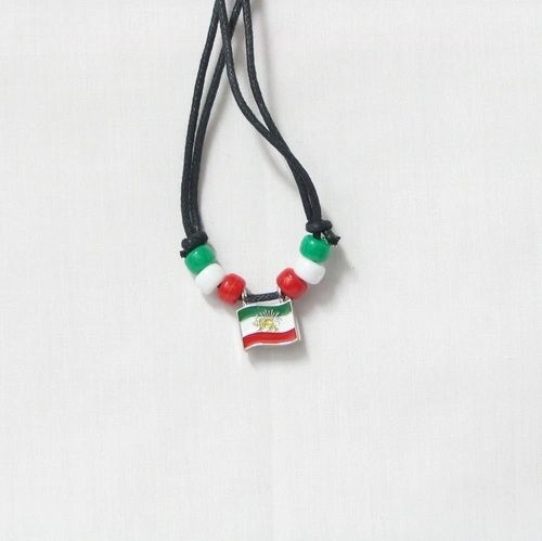 IRAN COUNTRY FLAG SMALL METAL NECKLACE CHOKER .. NEW AND IN A PACKAGE