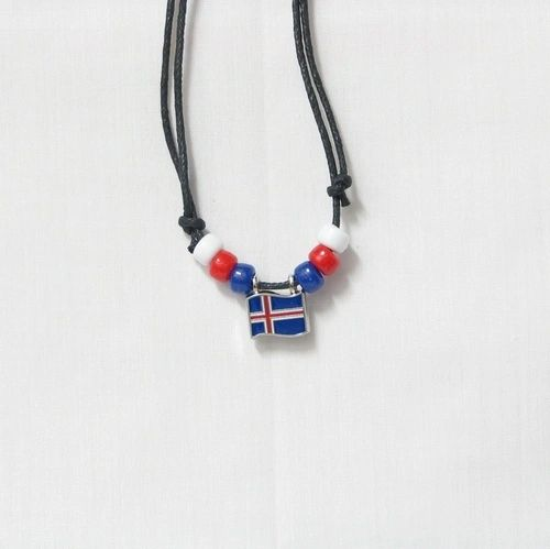 ICELAND COUNTRY FLAG SMALL METAL NECKLACE CHOKER .. NEW AND IN A PACKAGE