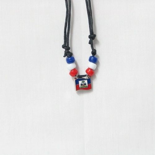 HAITI COUNTRY FLAG SMALL METAL NECKLACE CHOKER .. NEW AND IN A PACKAGE