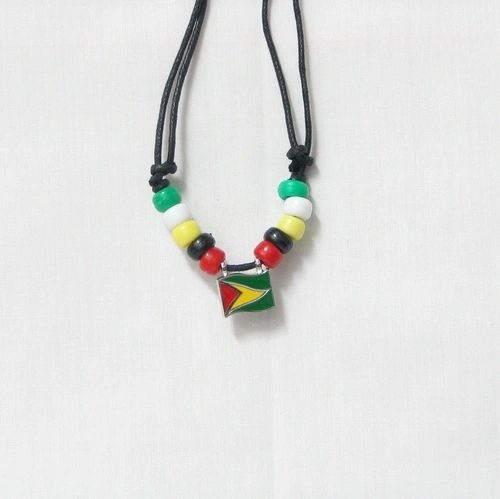 GUYANA COUNTRY FLAG SMALL METAL NECKLACE CHOKER .. NEW AND IN A PACKAGE