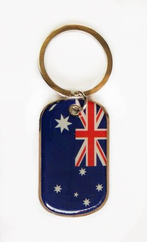 AUSTRALIA COUNTRY FLAG METAL KEYCHAIN .. NEW AND IN A PACKAGE