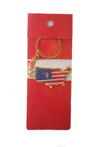 USA COUNTRY SHAPE FLAG METAL KEYCHAIN .. NEW AND IN A PACKAGE