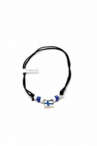 FINLAND COUNTRY FLAG SMALL METAL NECKLACE CHOKER .. NEW AND IN A PACKAGE