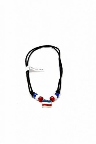 YUGOSLAVIA COUNTRY FLAG SMALL METAL NECKLACE CHOKER .. NEW AND IN A PACKAGE