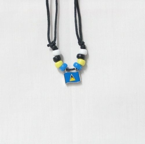 ST. LUCIA COUNTRY FLAG SMALL METAL NECKLACE CHOKER .. NEW AND IN A PACKAGE