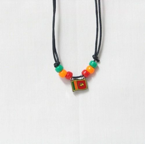 SRI LANKA COUNTRY FLAG SMALL METAL NECKLACE CHOKER .. NEW AND IN A PACKAGE