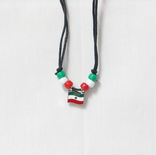 SOMALILAND COUNTRY FLAG SMALL METAL NECKLACE CHOKER .. NEW AND IN A PACKAGE