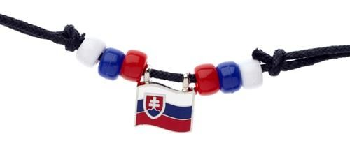 SLOVAKIA COUNTRY FLAG SMALL METAL NECKLACE CHOKER .. NEW AND IN A PACKAGE