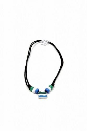 SIERRA LEONE COUNTRY FLAG SMALL METAL NECKLACE CHOKER .. NEW AND IN A PACKAGE