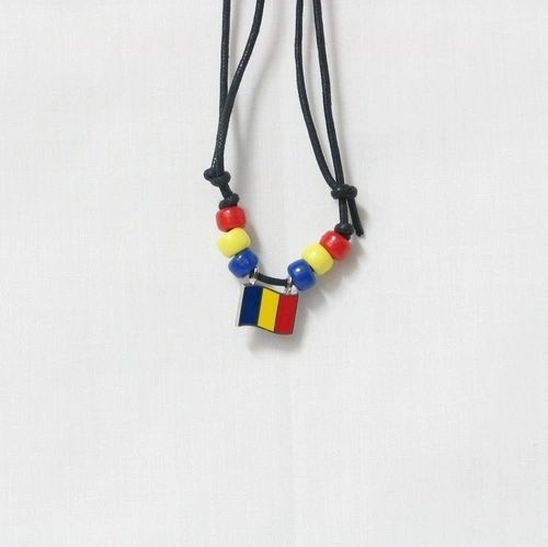 ROMANIA COUNTRY FLAG SMALL METAL NECKLACE CHOKER .. NEW AND IN A PACKAGE
