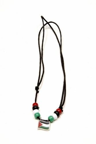 PALESTINE COUNTRY FLAG SMALL METAL NECKLACE CHOKER .. NEW AND IN A PACKAGE