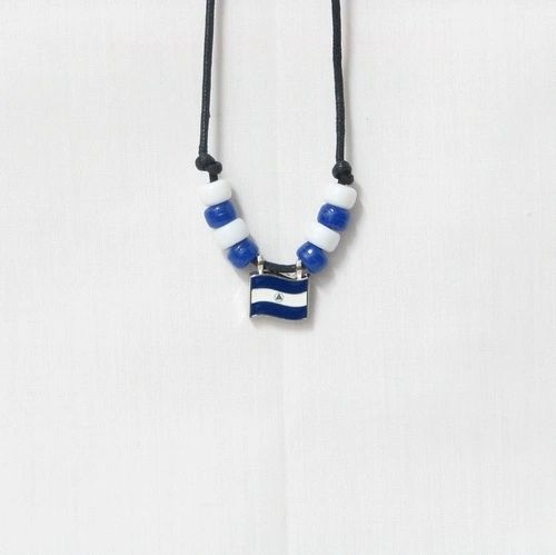 NICARAGUA COUNTRY FLAG SMALL METAL NECKLACE CHOKER .. NEW AND IN A PACKAGE