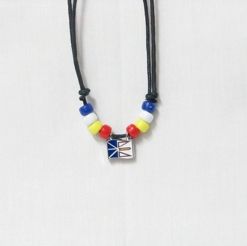 NEWFOUNDLAND & LABRADOR CANADA PROVINCIAL FLAG SMALL METAL NECKLACE CHOKER .. NEW AND IN A PACKAGE