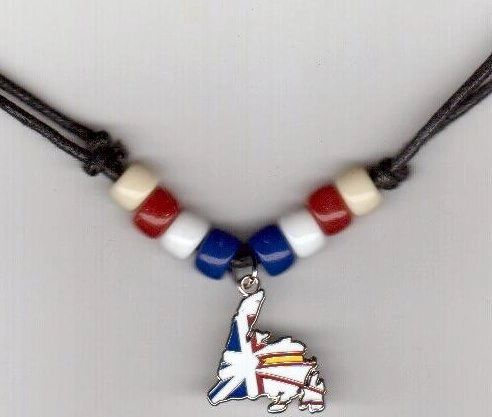 NEWFOUNDLAND & LABRADOR PROVINCIAL SHAPE FLAG SMALL METAL NECKLACE CHOKER .. NEW AND IN A PACKAGE