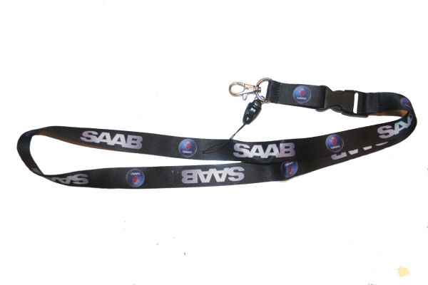 "SAAB CAR MODEL LOGO LANYARD KEYCHAIN PASSHOLDER NECKSTRAP .. CLASP AT THE END .. 20"" INCHES LONG .. HIGH QUALITY .. NEW"