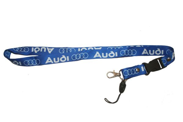 "AUDI BLUE CAR MODEL LOGO LANYARD KEYCHAIN PASSHOLDER NECKSTRAP .. CLASP AT THE END .. 20"" INCHES LONG .. HIGH QUALITY .. NEW"