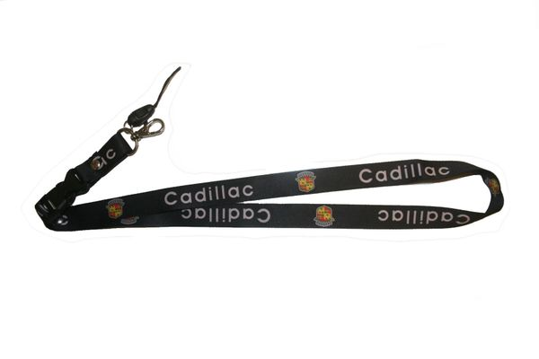 "CADILLAC CAR MODEL LOGO LANYARD KEYCHAIN PASSHOLDER NECKSTRAP .. CLASP AT THE END .. 20"" INCHES LONG .. HIGH QUALITY .. NEW"
