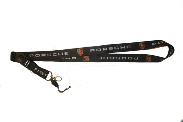 "PORSCHE CAR MODEL LOGO LANYARD KEYCHAIN PASSHOLDER NECKSTRAP .. CLASP AT THE END .. 24"" INCHES LONG .. HIGH QUALITY .. NEW"