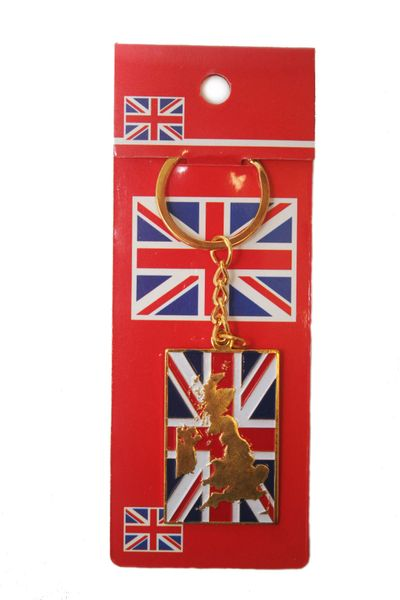 UNITED KINGDOM SQUARE SHAPE FLAG METAL KEYCHAIN .. NEW AND IN A PACKAGE
