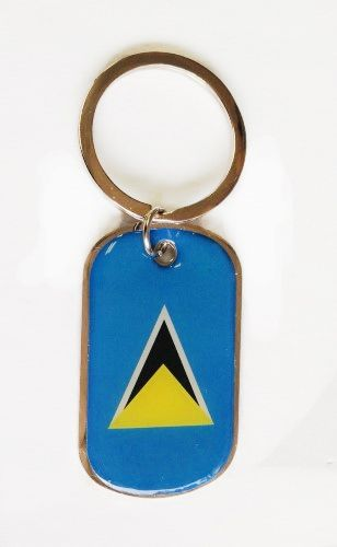 ST. LUCIA COUNTRY FLAG Dog Tag METAL KEYCHAIN .. NEW