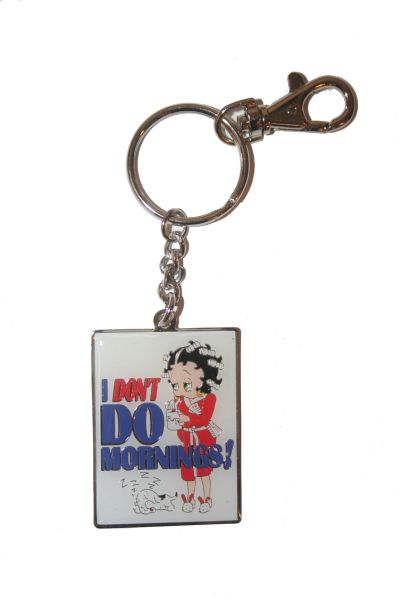 """ I DON'T DO MORNINGS!"" BETTY BOOP LICENCED PICTURE METAL KEYCHAIN .. NEW AND IN A PACKAGE"