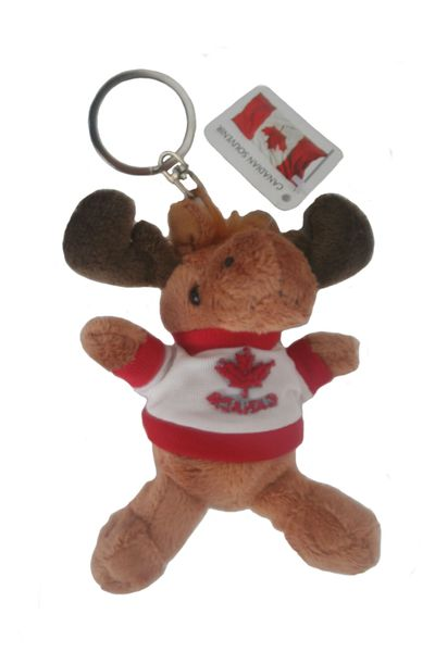 "CANADA MOOSE PLUSH TOY KEYCHAIN .. SIZE : 4 1/2"" INCHES .. NEW AND IN A PACKAGE"
