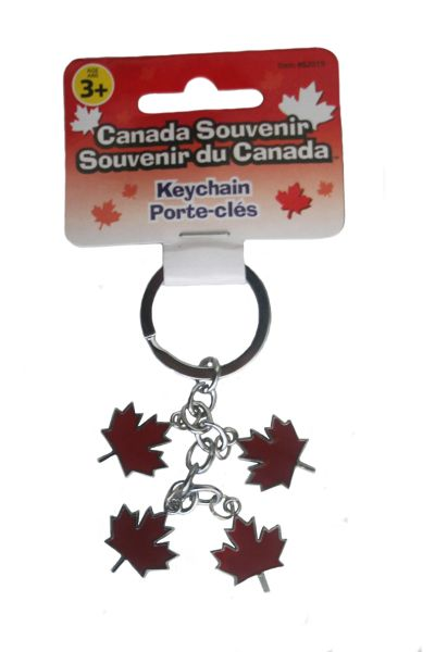 4 CHARMING MAPLE LEAF METAL KEYCHAIN .. NEW AND IN A PACKAGE