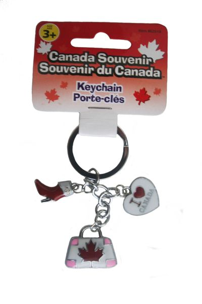 3 CHARMING - HEART , SHOE , BAG METAL KEYCHAIN .. NEW AND IN A PACKAGE