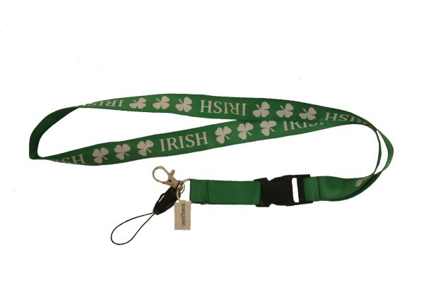 "IRISH GREEN SHAMROCK FLOWERS LANYARD KEYCHAIN PASSHOLDER NECKSTRAP .. CLASP AT THE END .. 20"" INCHES LONG .. HIGH QUALITY .. NEW"
