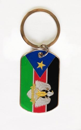 SOUTH SUDAN COUNTRY FLAG Dog Tag METAL KEYCHAIN .. NEW