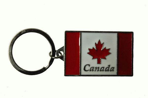 """CANADA Country Flag With TITLE METAL KEYCHAIN ..Size: 2"""" x 1.1"""" Inch"""