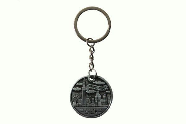 "TORONTO SKYLINE Circle Shape Metal KEYCHAIN .. Size : 1.25"" Inch In Diameter"