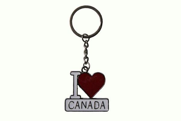 I LOVE CANADA , Heart Shape Metal KEYCHAIN