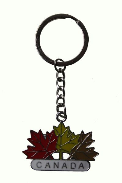 CANADA , 3 COLORED MAPLE LEAVES Metal KEYCHAIN