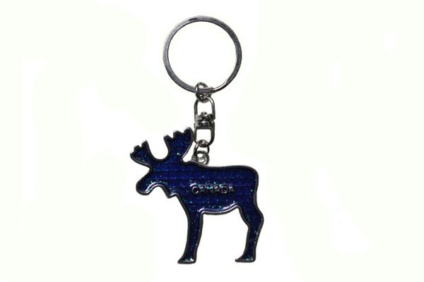 CANADA MOOSE With TITLE BLUE Metal KEYCHAIN
