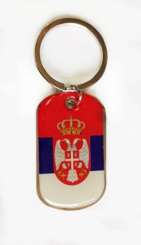 SERBIA COUNTRY FLAG Dog Tag METAL KEYCHAIN .. NEW