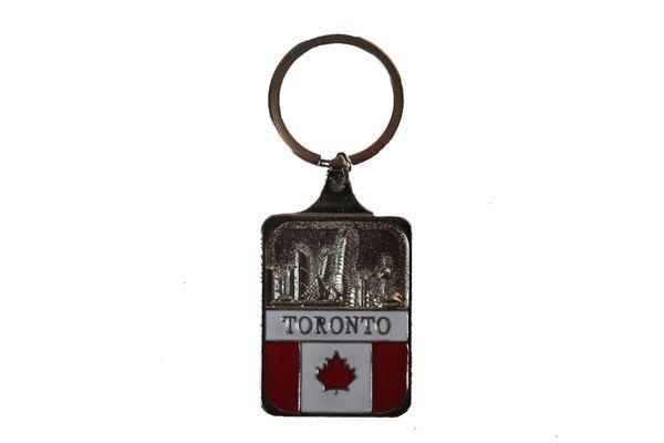 TORONTO SkyLine & CANADA Flag Metal KEYCHAIN