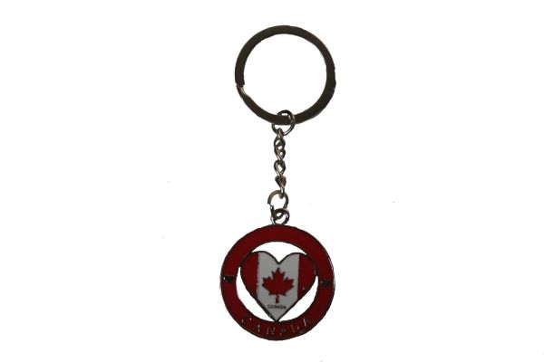 HEART - CANADA Flag With TITLE In Ring Metal KEYCHAIN