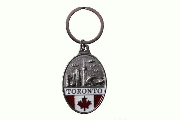 """TORONTO SKYLINE & CANADA Country Flag Oval Shape Metal KEYCHAIN.. Size : 3.5 x 5.4 Cm ( 1 3/8"""" x 2 1/8"""" Inch )"""