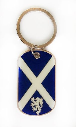 SCOTLAND - ST. ANDREW CROSS WITH LION COUNTRY FLAG Dog Tag METAL KEYCHAIN .. NEW